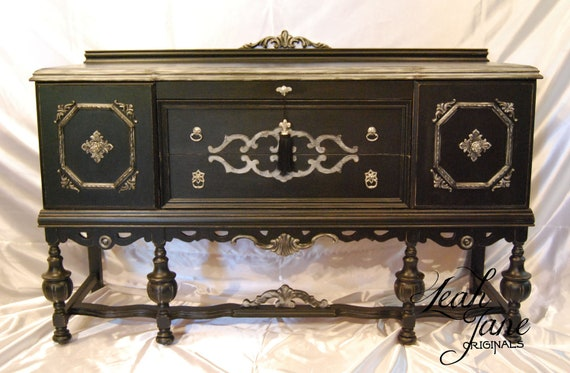 Items Similar To Hand Painted Antique Sideboad Buffet Free Shipping On Etsy