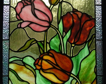 Tulips Stained Glass Panel