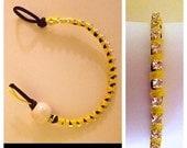 "Bright Yellow and Rhinestone Wrap ""Friendship"" Bracelet"