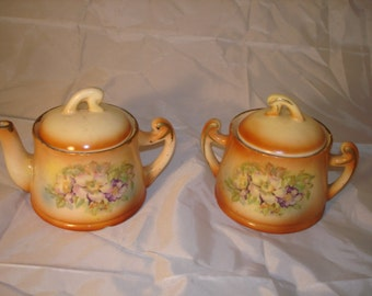 Vintage Sugar Bowl and Creamer Czechoslovakia Floral