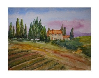 Tuscan Farmhouse - An Original Watercolour by Kate Beinder
