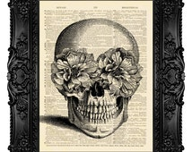 Skull Art Print Poster - SUGAR SKULL - Skull Artwork, Skull Geekery Geek Skull Dictionary