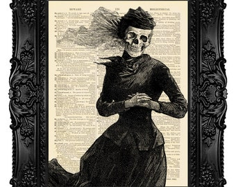 Victorian Death - ORIGINAL ARTWORK - Dictionary Art Print Vintage Upcycled Book Page no.82