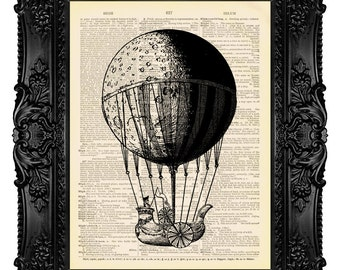 Moon Balloon - Dictionary Art Print Vintage Upcycled Antique Book Page no.235