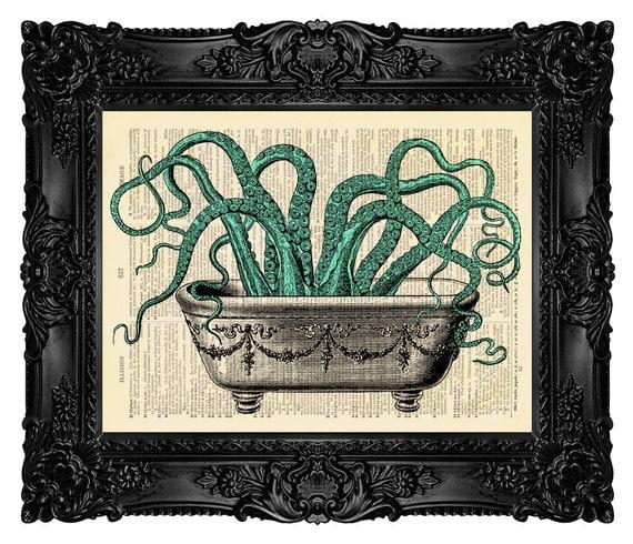bathroom decor octopus wall decal octopus by madamebricolageprint. Black Bedroom Furniture Sets. Home Design Ideas