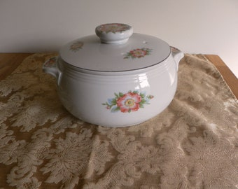 Vintage Hall's White Rose Covered Casserole