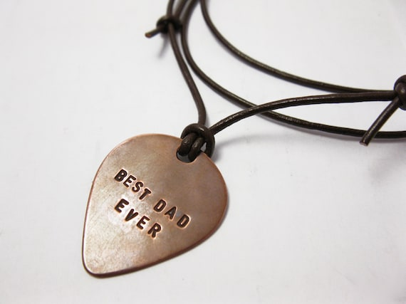 Mens Necklace Personalized Copper Guitar Pick - Hand Stamped Quote, Names, Initials - Oxidized, Rustic - Men, Father Gift, Music Friend Gift
