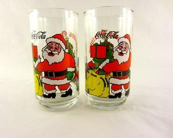 Vintage McCrory's Christmas Glasses Coca Cola