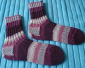 REDUCED striped socks hand knitted in Regia wool for women