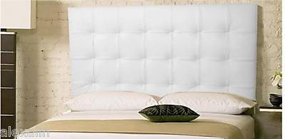 wall mounted king size extra tall headboard upholstered in white genuine leather. Black Bedroom Furniture Sets. Home Design Ideas