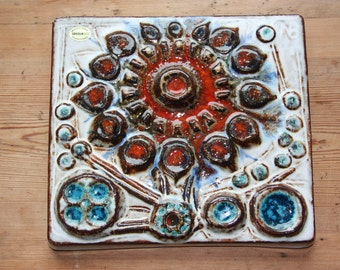 Soholm pottery flower wall plaque by Noomi Backhausen, Denmark