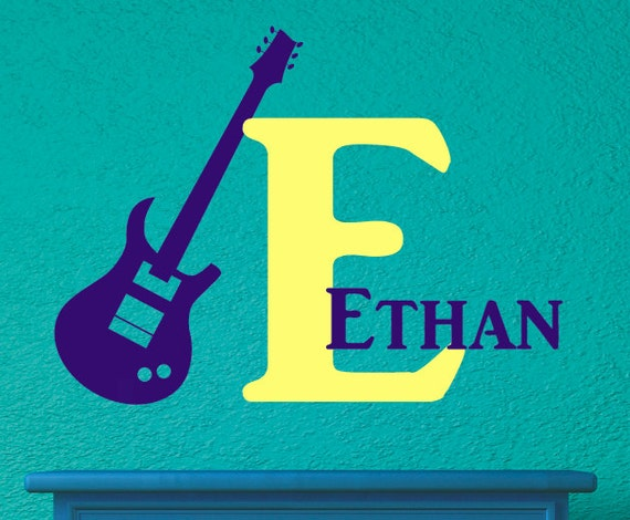 Guitar Vinyl Decal - Personalized Wall Decal - Monogrammed Vinyl Lettering - Boys Room Decor - Teenager Room Decor