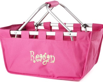 Personalized Market Tote in Hot Pink