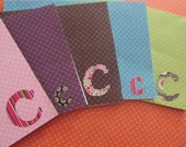 Handmade, Blank, Mini Monogrammed, Purple, Pink, Blue, Green, and Brown Polka Dots, Card Set of 5, Letter C