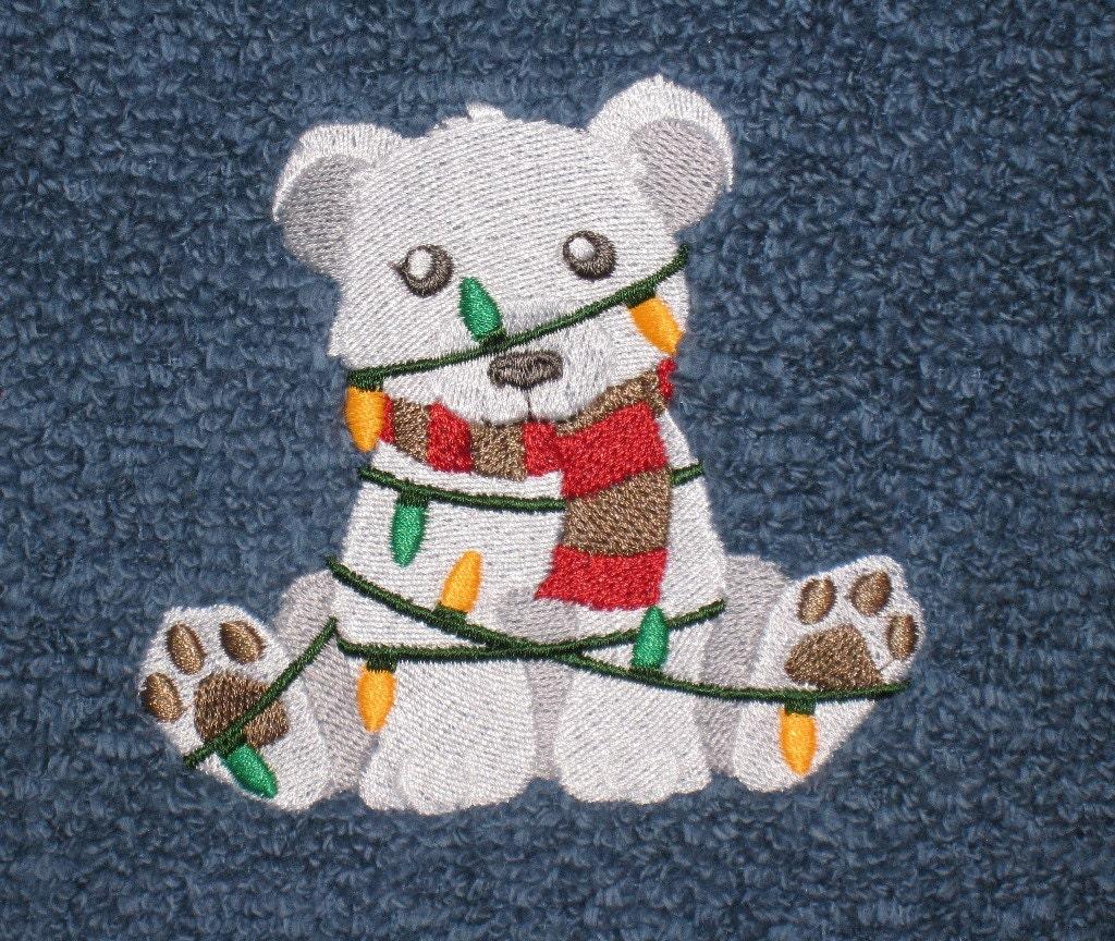 Tangled Polar Bear Embroidered Bath Towel 3 Piece Set