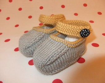 Hand knitted grey and mustard Mary-Jane baby shoes - 0-3, 3-6 and 6-9 months