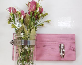 Cottage Chic Wall Flower Vase 1 Hook- Key Holder-Towel Hook- Country Chic- Shabby- Country Decor- Choose From Many Colors
