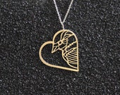 Heart shape designer necklace with bird, 24k gold plated pendant, gold filled chain