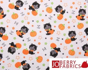 Halloween Fabric, Kittens and Pumpkins