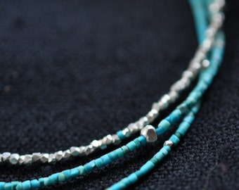 Turquoise and silver beads 3 tiered necklace (N0020)