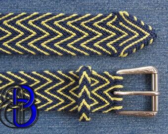 Ply-Split Braided Linen Belt, Cobalt and Citrus Green.