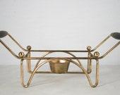 Vintage Mid Century Warming Tray - Teak Handles, Brass Frame, Mad Men