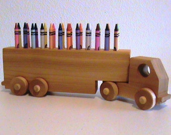 Wooden Truck Crayon Holder - Crayons Included - Hand Crafted -  All Natural Finish - Classic Educational Toy - Eco Friendly Kids Toy