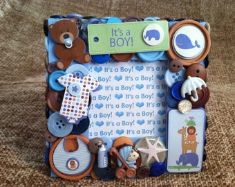 Blue Baby Themed Button Picture Frame
