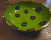 Wood snack bowl, hand painted serving bowl, catchall, trinket bowl