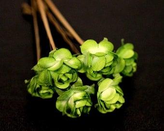 Green Tea Rose, Bridal Hair Accessories, Bohemian Wedding Hair Accessories, Dark Green Hair Flower, Brass Bobby Pin - Set of 6