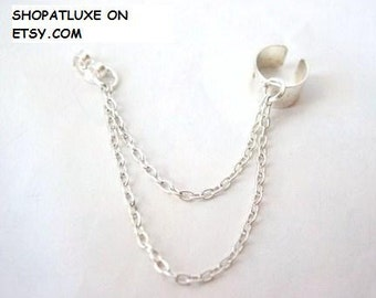 Silver Earring Cuff & Chain Earring - SINGLE ITEM