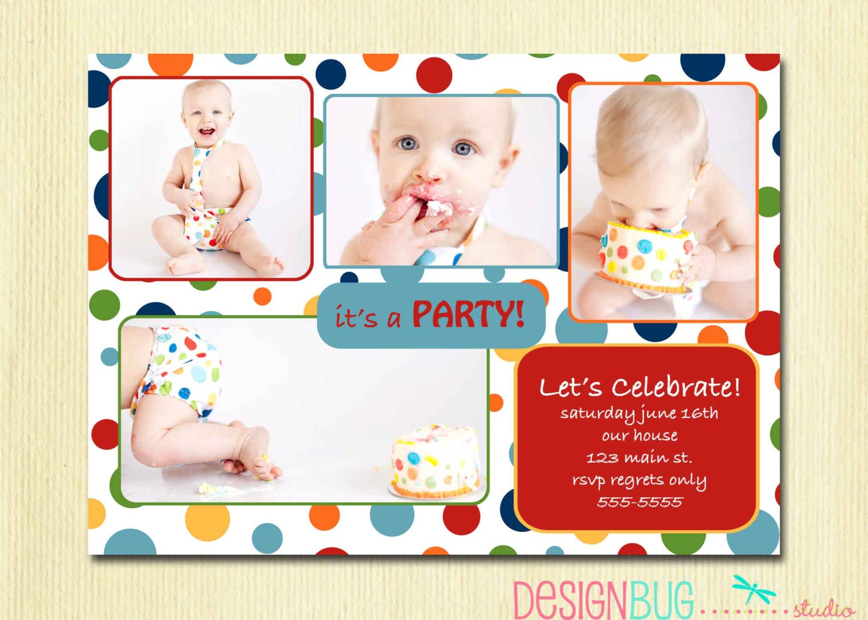 First Birthday Party Invitation Rainbow Polka Dot 1st – Polka Dot First Birthday Invitations