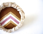 "Oversized Chevron Ring.  Statement Ring. ""Pink-Rust Chevron Ring"" Adjustable Ring.  Hand Painted Cotton Canvas. OOAK."