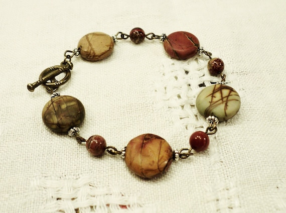 SALE - Picasso Jasper Bracelet with Mixed Metals