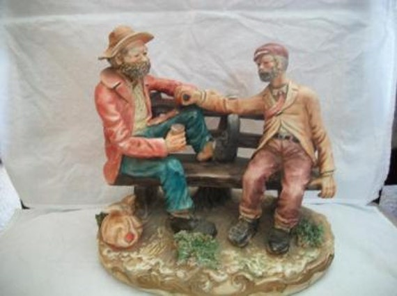 Sold Capodimonte VINTAGE 2 Homeless Buddies On Bench figurine/statue By SANDRO MAGGIONI 1979
