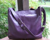 Ostrich Leather Purple Tote Outside Beautiful Soft Suede Inside of The Outside