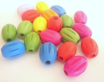 Geometric Wooden beads -Mix