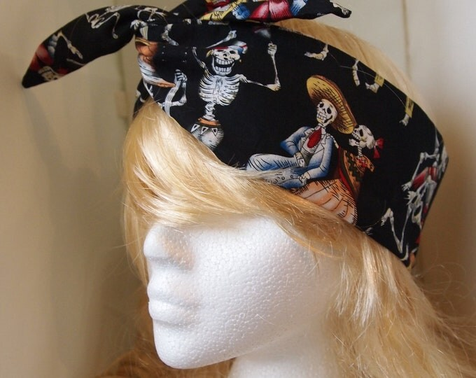 Black Vintage Mexican Skeleton Head Scarf - Dancing Day of the Dead Hair Tie