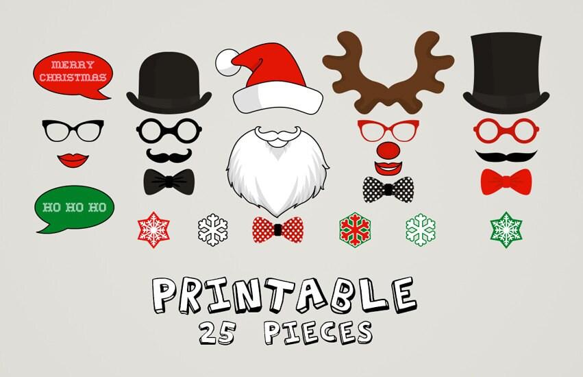PRINTABLE Christmas Photo Booth Moustaches Lips Snowflake