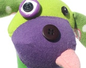 Handmade Upcycled Plush Funny Dog Sock Toy Stuffed Animal Sammy Starlight Lime Green and Purple - Fuffalumps