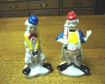 Choice of porcelain clown figurines red hat boaster or blue hat sad sack vintage Flambro