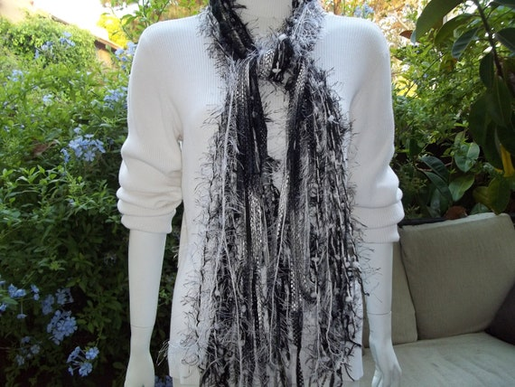 All Fringe Scarf  Black and White Handtied  READY to ship