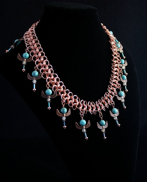 Egyptian Style Necklace with Turquoise and Quartz Pendants and Copper Chainmaille