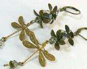 Dragonfly Earrings Fantasy Jewelry Crystal Earrings Dangle Drop Earrings SALE PRICE REDUCED