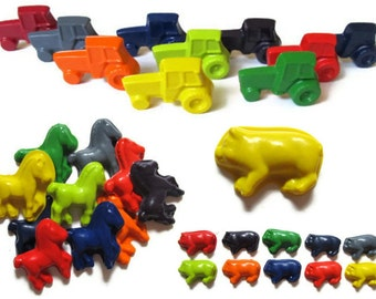 Farm Crayons set of 60 - Tractor Crayons - Horse Crayons - Pig Crayons - Party Favors