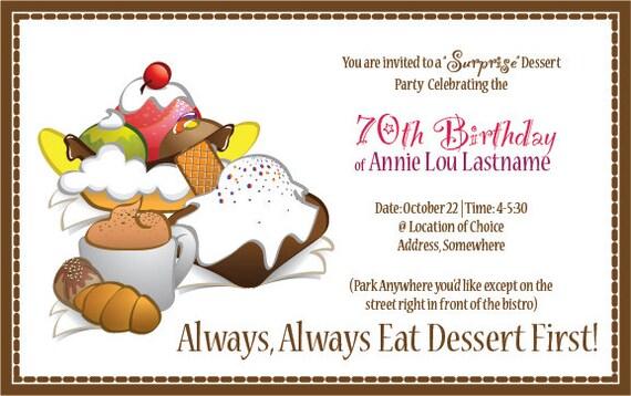 Dessert Party Surprise Party Invitation Digital File Only – Dessert Party Invitations