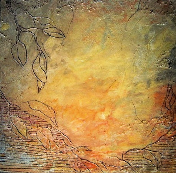 Encaustic Wax Art 8x8 Fossil Etched Leaves Red and Yellow with a touch of Blue Gloss and texture re