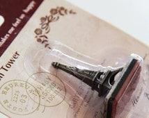 Vintage Style Paris Rubber Stamp.- Scrapbooking. Cardmaking. Tag Making. Stamping. DIY rubber stamps. French theme. Flowers. Ribbon
