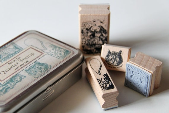 Alice in Wonderland Wooden Rubber Stamps Set 3- Scrapbooking. Cardmaking. Tag Making. Fairy Tale. Vintage Style