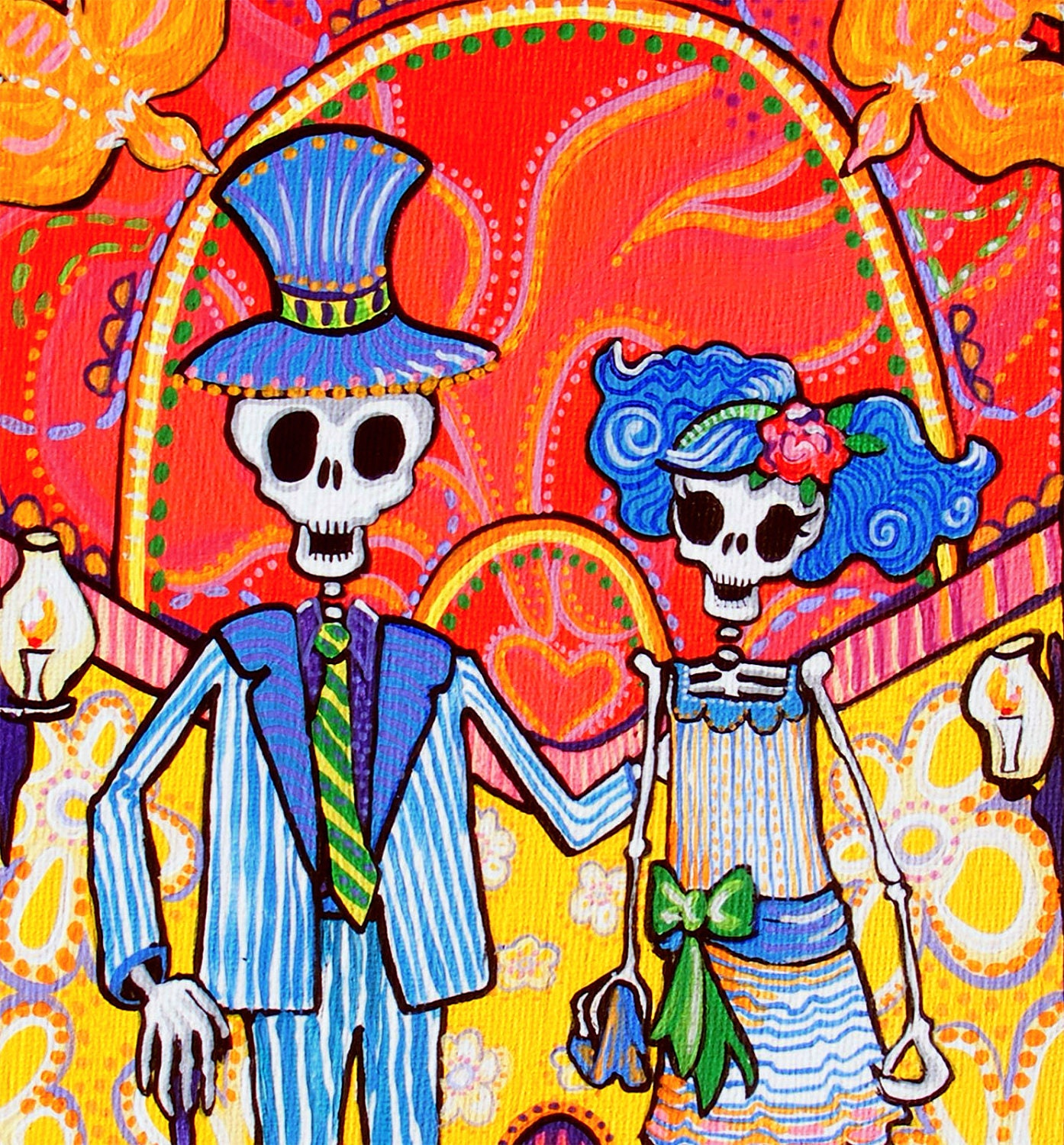 Original Painting Day Of The Dead Art Wedding Calavera Couple
